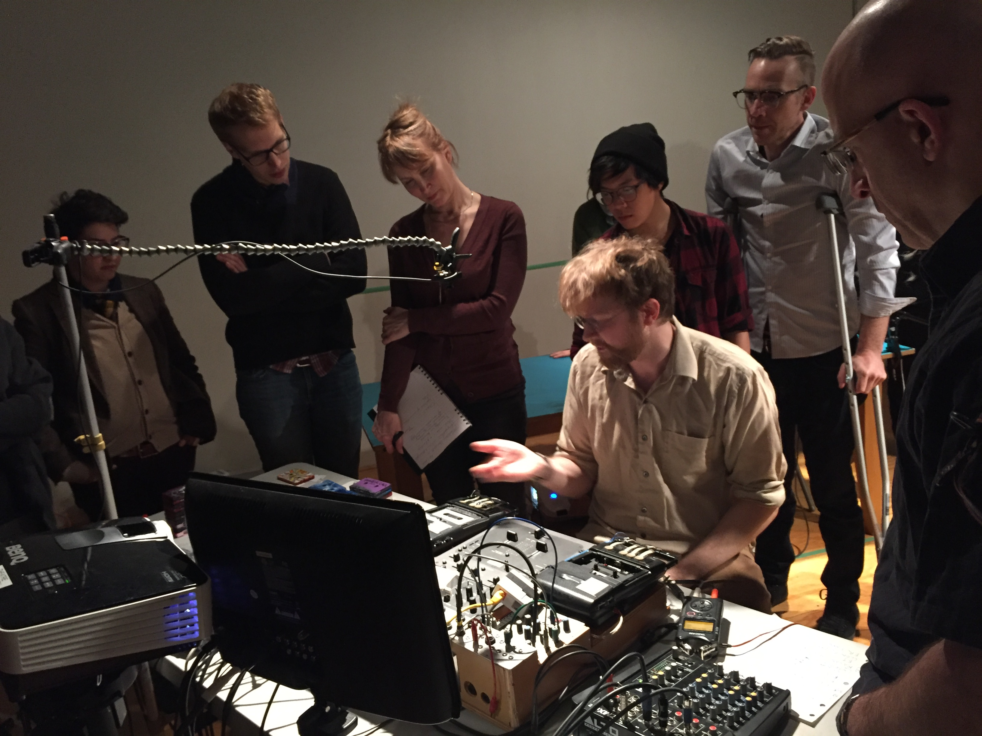 G. Lucas Crane showcasing his elaborate analog sound rig at the Decoder 2017 workshop