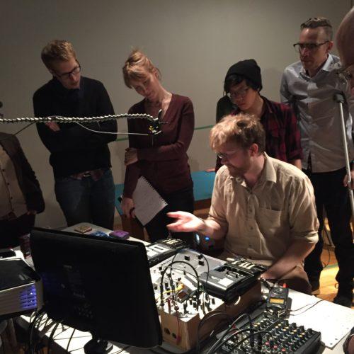 G. Lucas Crane showcasing his elaborate analog sound rig at the Decoder 2017 workshop
