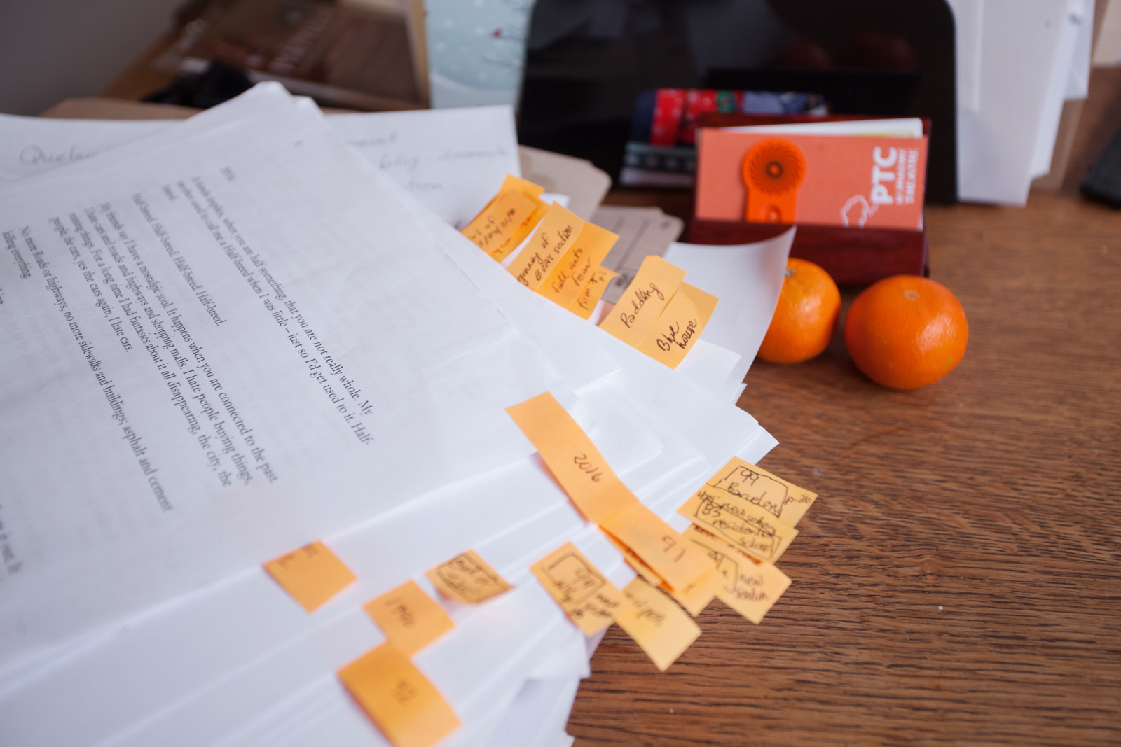 PTC script with orange edit stickies. Sarah Race photo