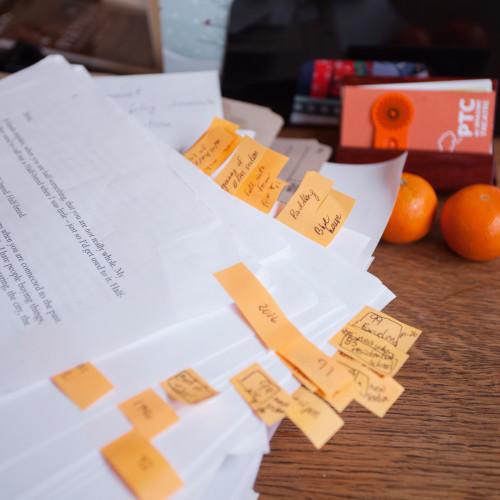 PTC script with orange edit stickies. Sarah Race photo