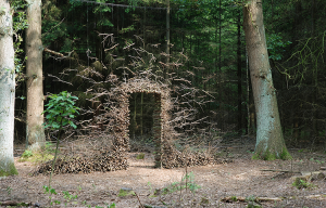Cornelia Konrad's outdoor installation of a doorway made of twigs in the woods