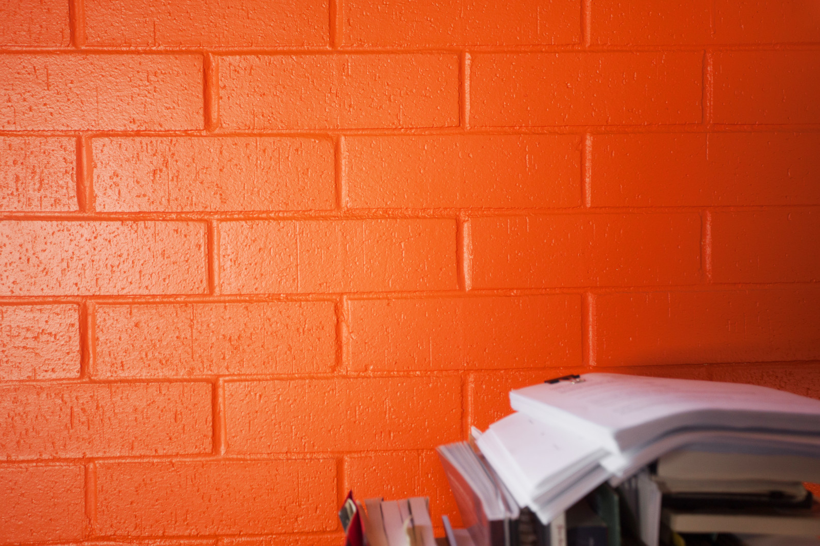 PTC orange wall and scripts. Sarah Race photo