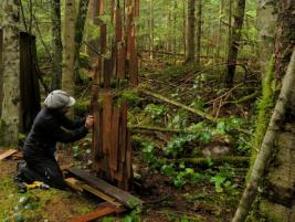 Cornelia Konrads working on wood site sculpture for Tinkers in the forest