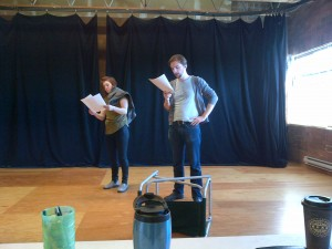 "Claire Hesselgrave and Sebastien Archibald rehearsing ""How to Survive an Apocalypse"" in studio"