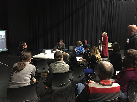 Playwrights, dramaturgs and designers talking design at the 2015 Colony