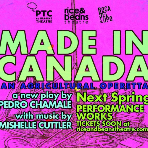 Image of farm implements on bright pink background with title Made in Canada: an agricultural operetta and credits