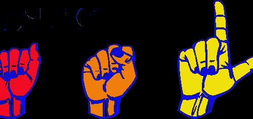 Illustration of hands spelling ASL in sign language