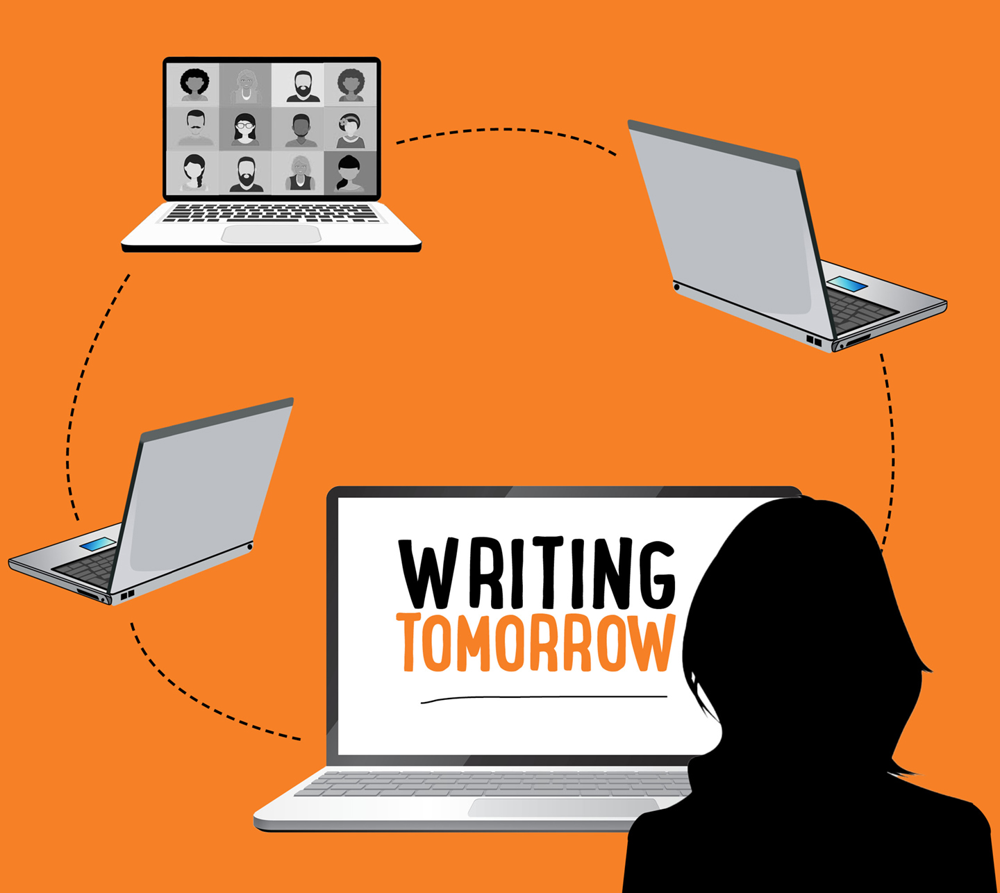 Graphic Image of person sitting in front of computer with Writing Tomorrow on screen, connected to other laptops