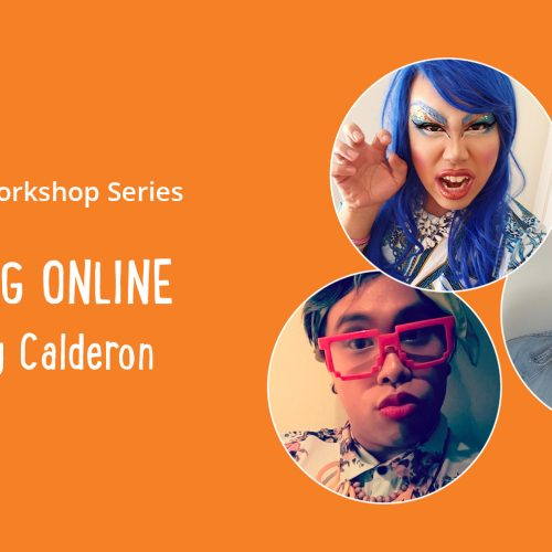 Three images of Davey Calderon - one just as himself and the others as a clown/drag-clown - on an orange background