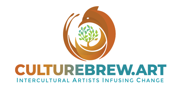 CultureBrew Logo of brown fox swirling around a tree with green leaves with slogan: Intercultural Artists Infusing Change
