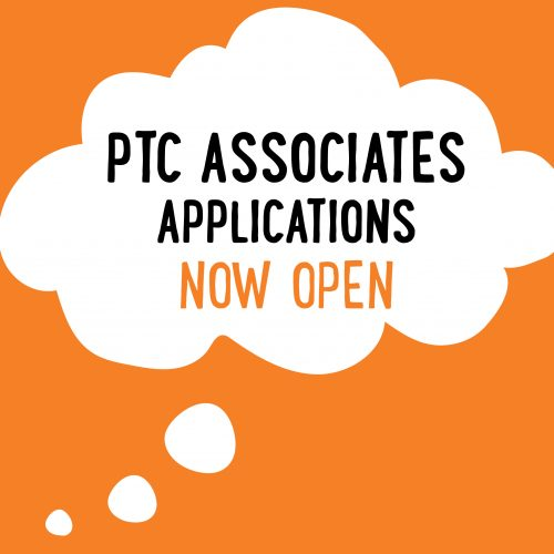 THOUGHT BUBBLe with text inside: PTC Associates Applications Now Open