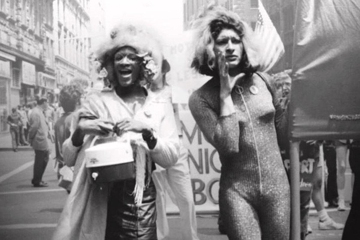 Blacka nd white photo of Marsha P. Johnson and Sylvia Rivera