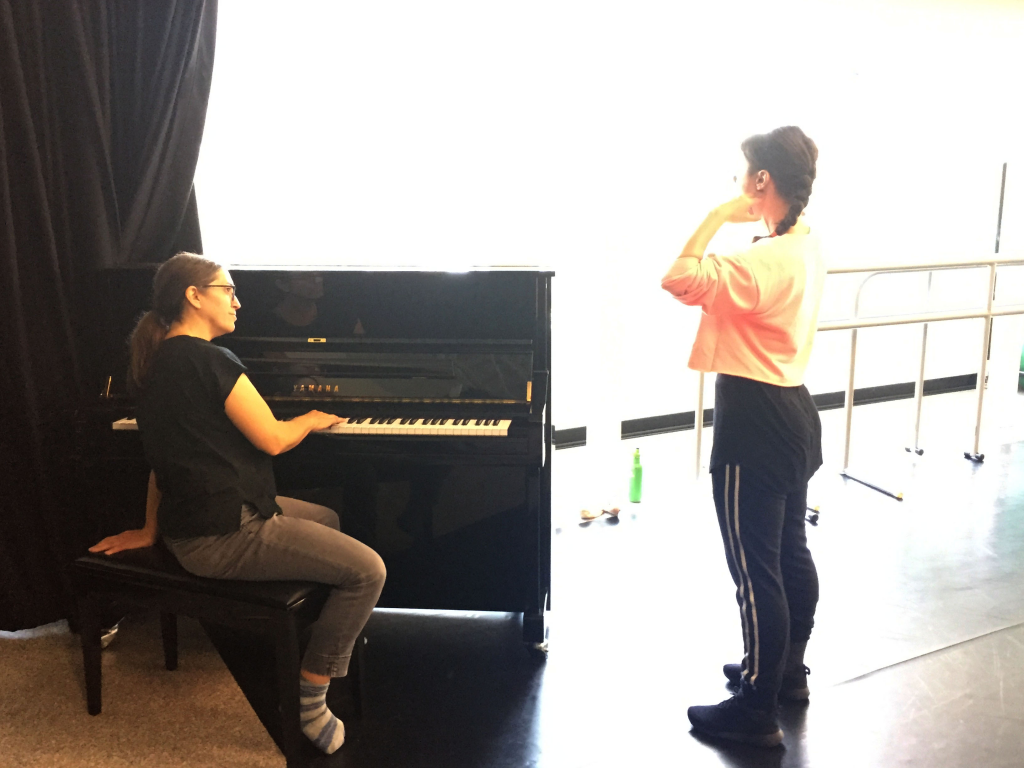 Amber Funk Barton with Heidi Taylor on piano doing warmups for am a