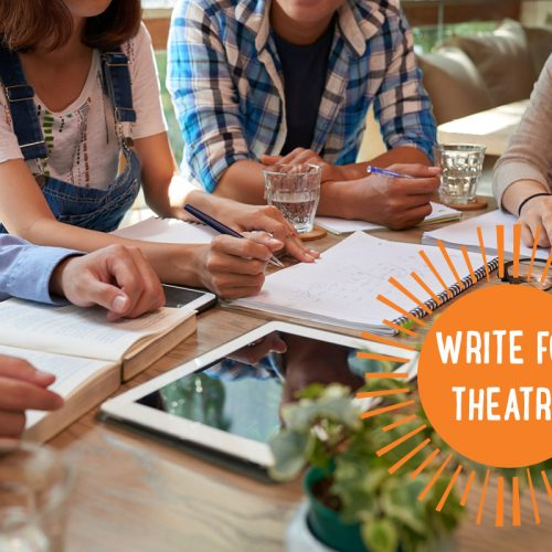 Group of young people sitting around a table writing in notebooks and reading texts, a tablet in front of one of them and the words Write for Theatre in an orange sunburst at bottom right
