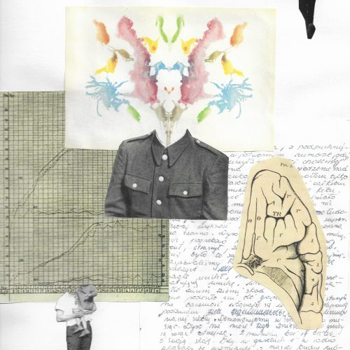 A collage juxtaposes fragments from a family archive with fragments from the history of psychiatry.